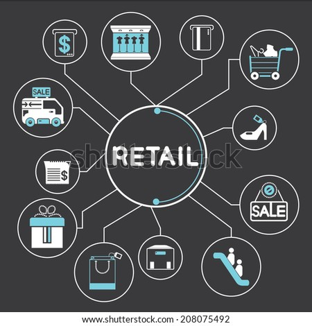retail and shopping info graphic in black background - stock vector