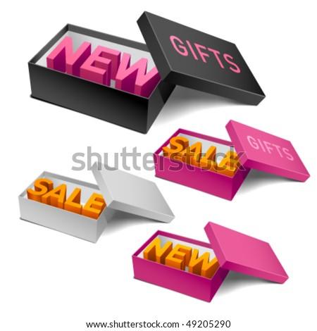 Retail boxes. Editable vector. - stock vector