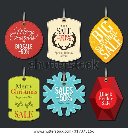 Retail Sale Tags and Clearance Tags. Festive christmas design - stock vector