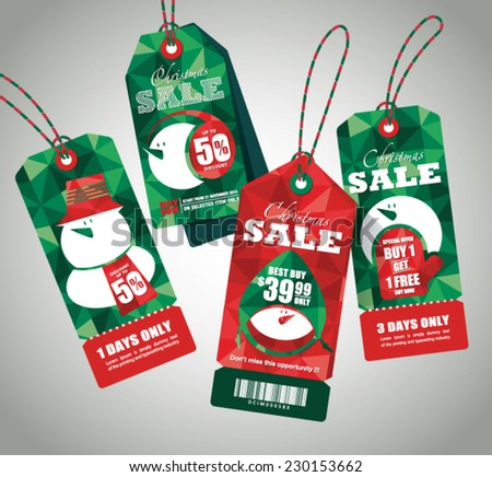 Retail Sale Tags. Festive christmas design. - stock vector
