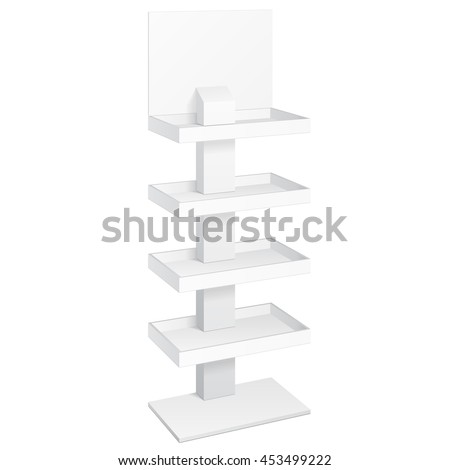 Retail Shelves Floor Display Rack For Supermarket Blank Empty Displays With Banner Products Mock Up. 3D On White Background Isolated. Ready For Your Design. Product Advertising. Vector EPS10