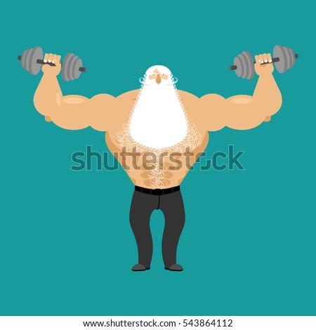 Retired athlete dumbbells strong santa fitness stock vector 2018 strong santa fitness old man sports powerful senior man spiritdancerdesigns Choice Image