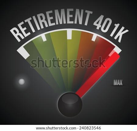 retirement 401k speedometer illustration design over a black background - stock vector