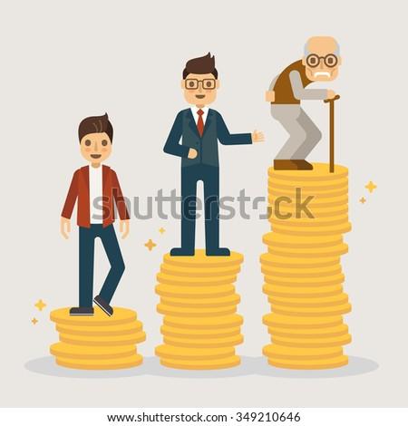 Retirement money plan. Financial concept illustration. - stock vector
