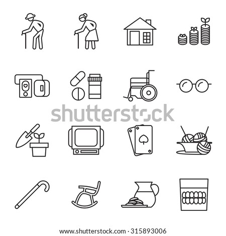 retirement, old people icon set - stock vector