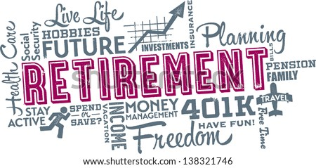 Retirement Planning Word and Icon Cloud - stock vector