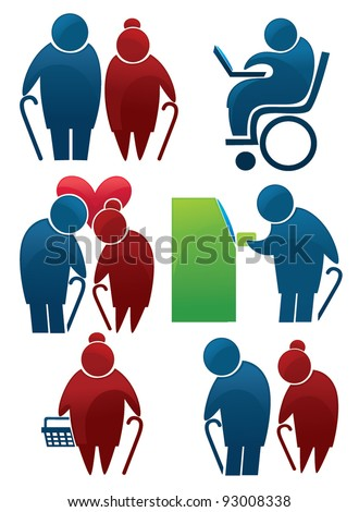 retirement: vector collection of old people symbols - stock vector