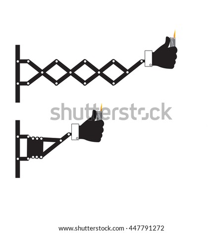 Retractable wall punching hand holding lighter sign, vector illustration. - stock vector