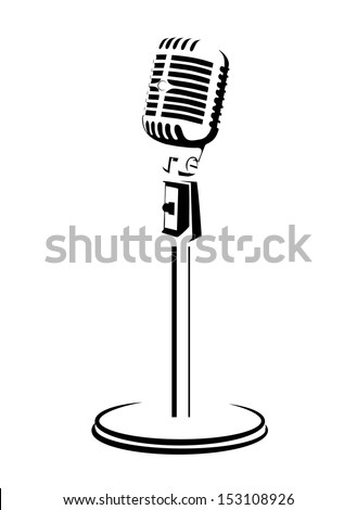 retro a microphone on a white background - stock vector