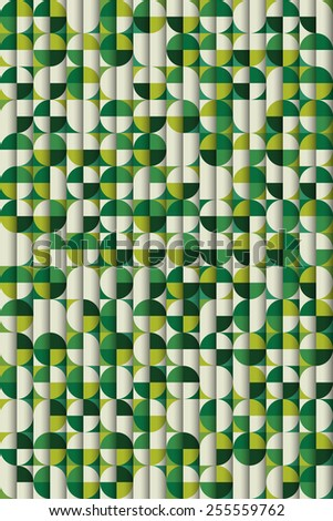Retro abstract background composition with circles, poster template. Vector seamless pattern set.  - stock vector