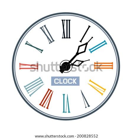 Retro Abstract Clock Face Illustration - stock vector