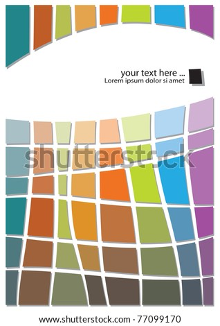retro abstract design, colorful geometric template - stock vector