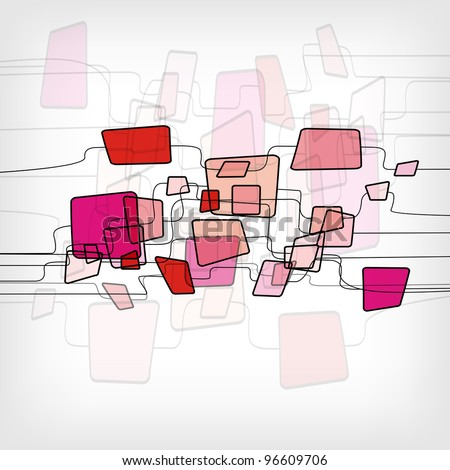 Retro Abstract Design Colorful Square Template - vector illustration - stock vector