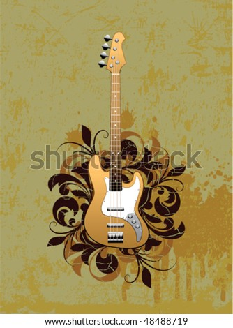 Retro abstract with electric guitar on a dirty background
