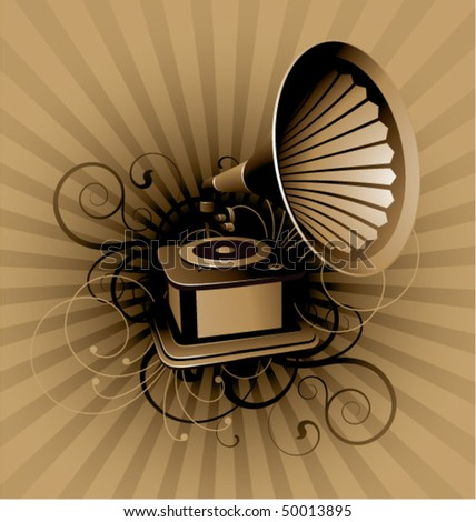 Retro abstract with gramophone on a striped background - stock vector