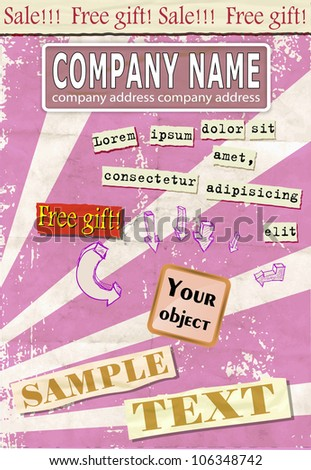 Retro  Advertisement Layout Collage Design Template 2 - stock vector