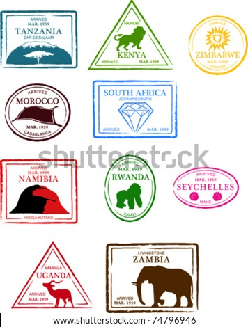 Retro African Set of Fun Country Passport Stamps Vector Illustration - stock vector