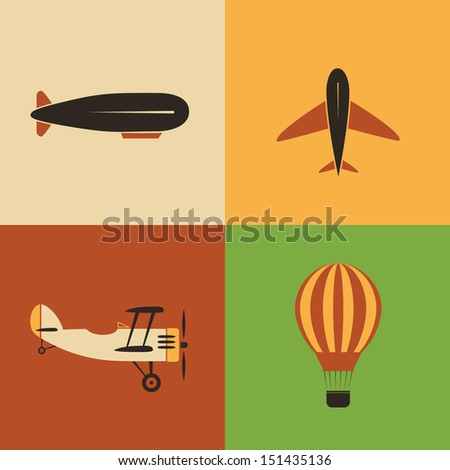 Retro Aircraft Icon Designs - stock vector