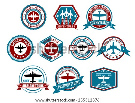 Retro airline tourism and travel labels or badges with silhouettes of planes in different frames decorated ribbon banners, stars and waves for travel agency or transportation design - stock vector