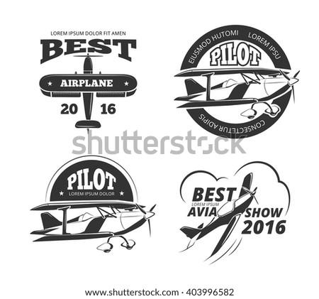 Retro airplane, aircraft vector labels set. Best pilot label, aeroplane or monoplane badge, emblem airplane transport, avia show airplane logo illustration - stock vector
