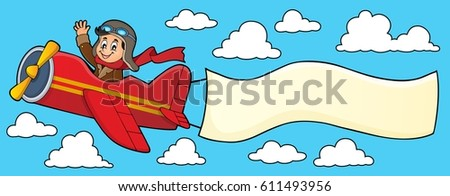 Retro airplane with banner theme 4 - eps10 vector illustration.