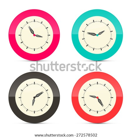 Retro Alarm Clock Set Illustration Isolated on White Background - stock vector