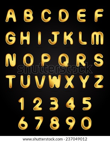 Retro alphabet font. Type letters and numbers golden metal style Vector design elements.