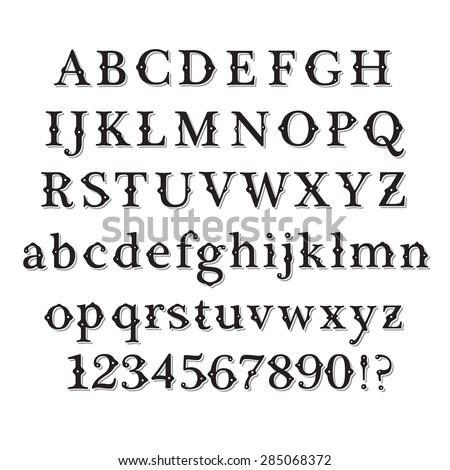 Retro alphabet font. Vintage Style Font and numbers set. Vector font. Custom design retro font. Black font symbols on white background. - stock vector