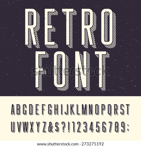 Retro alphabet vector font. Type letters, numbers and punctuation marks. Scratched background. - stock vector