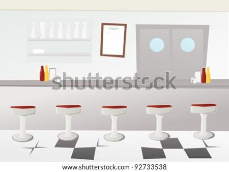 Retro American diner - stock vector