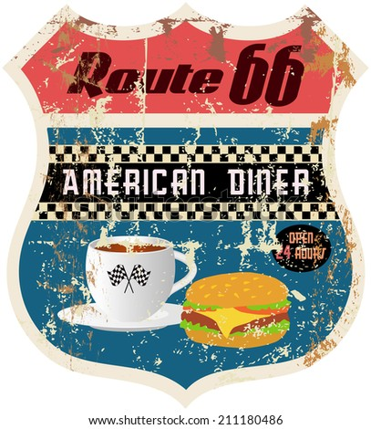 retro american diner sign, worn and weathered, vector format - stock vector