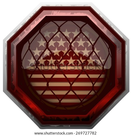 Retro American Flag Grunge MMA Octagon Sign, Vector Illustration isolated on White Background.  - stock vector