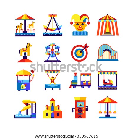 Retro amusement park icons set with swing roundabout castle train and  equipment of playground isolated vector illustration - stock vector
