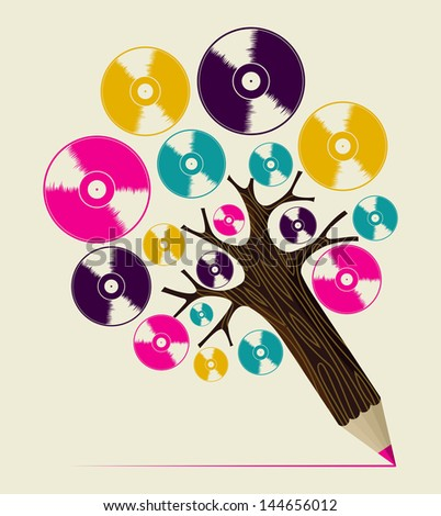 Retro analogue music vinyl disc concept pencil tree. Vector illustration layered for easy manipulation and custom coloring. - stock vector