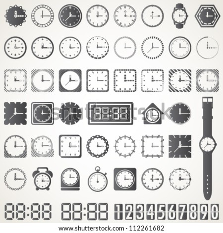 retro and modern clock collection  vector