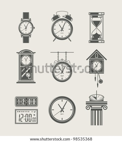 retro and modern clock set icon vector illustration - stock vector