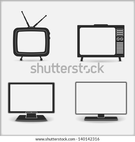 Retro and modern TV icons, vector eps10 illustration - stock vector