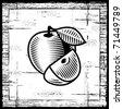 Retro apple black and white. Vector - stock vector