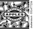 Retro Apple Harvest Label Black And White. Editable vector illustration in woodcut style with clipping mask.