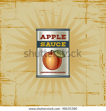 Retro Apple Sauce Can. Vector - stock vector