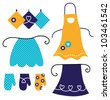 Retro apron set isolated on white - stock photo