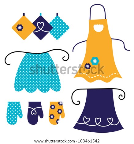Retro apron set isolated on white - stock vector
