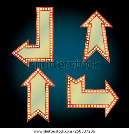 retro arrows with bulb lamps - stock vector