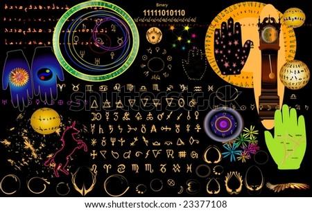 Retro astrology in vector - stock vector