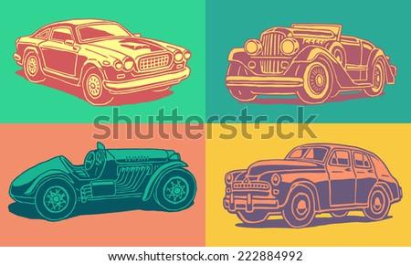 Retro autos vector pop art set - stock vector