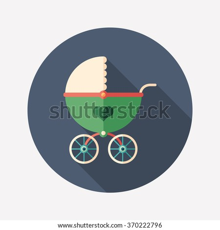 Retro baby stroller flat round icon with long shadows. - stock vector