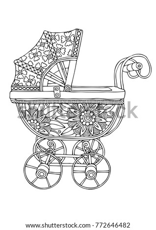 retro baby stroller hand drawn picture sketch for anti stress adult coloring book