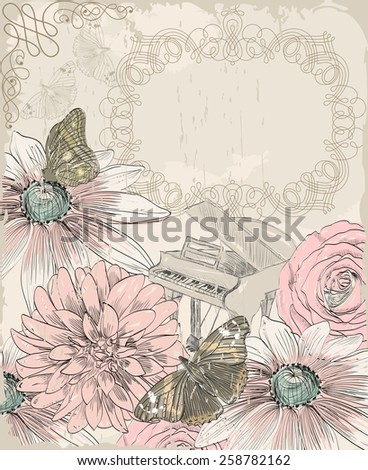 Retro background. Illustration of a butterfly and blooming summer flowers - stock vector