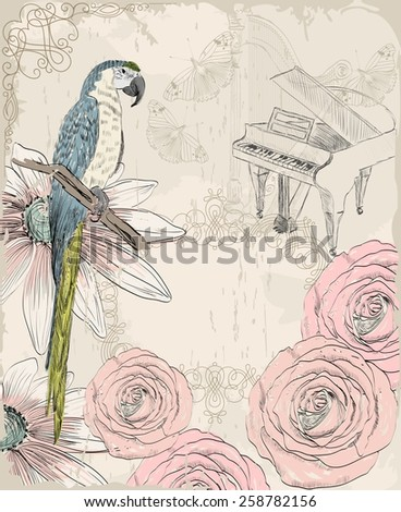 Retro background. Illustration of a parrot and blooming summer flowers - stock vector