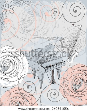 Retro background. Musical instruments and blooming summer flowers - stock vector